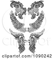 Clipart Black And White Ornate Angel And Demon Wings Royalty Free Vector Illustration