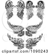 Clipart Black And White Ornate Angel Wings Royalty Free Vector Illustration by Chromaco
