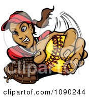 Female Softball Pitcher Throwing A Ball