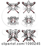 Clipart Tribal Baseballs And Bats Royalty Free Vector Illustration by Chromaco