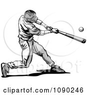 Clipart Grayscale Baseball Player Swinging Royalty Free Vector Illustration