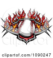 Clipart Baseball Over A Tribal Shield And Flames Royalty Free Vector Illustration