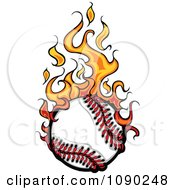 Clipart Baseball Engulfed In Flames Royalty Free Vector Illustration