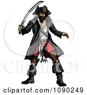 Clipart Defensive Pirate With A Sword Royalty Free Vector Illustration