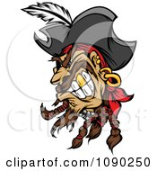 Mad Pirate Head With A Gold Tooth