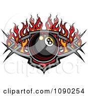 Billiards Eight Ball Over A Tribal Shield With Flames