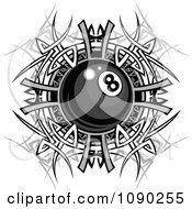 Clipart Billiards Eight Ball Over A Tribal Designs Royalty Free Vector Illustration by Chromaco