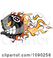Clipart Flaming Billiards Eight Ball Character Royalty Free Vector Illustration by Chromaco
