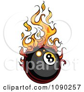 Clipart Eight Ball With Flames Royalty Free Vector Illustration