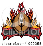 Clipart American Football Over A Banner And Flames Royalty Free Vector Illustration
