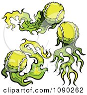 Clipart Green Fiery Tennis Balls Royalty Free Vector Illustration by Chromaco