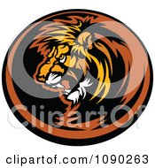 Clipart Dark Lion Mascot Circle Royalty Free Vector Illustration by Chromaco