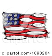 American Flag Made Of Tennis Balls And Rackets