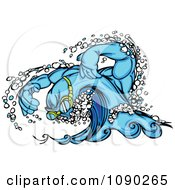Clipart Swimming Wave Character Wearing Goggles Royalty Free Vector Illustration
