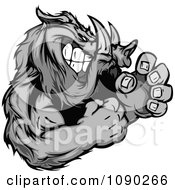 Clipart Fighting Boar Mascot Royalty Free Vector Illustration by Chromaco #COLLC1090266-0173
