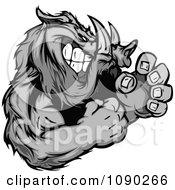 Clipart Fighting Boar Mascot Royalty Free Vector Illustration