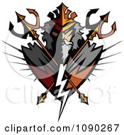 Clipart Titan Badge With Crossed Tridents Royalty Free Vector Illustration