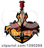 Clipart Gold Spartan Warrior With A Red Cape Royalty Free Vector Illustration