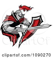 Clipart Armoured Knight With A Red Cape Shield And Sword Royalty Free Vector Illustration