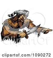 Clipart Male Pioneer Holding A Sword Royalty Free Vector Illustration