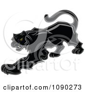 Clipart Prowling Black Panther Mascot Royalty Free Vector Illustration by Chromaco