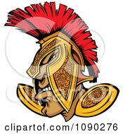 Clipart Tough Spartan Warrior In A Gold And Red Helmet Royalty Free Vector Illustration by Chromaco