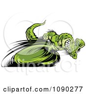 Clipart Fast Alligator Mascot Sprinting Upright Royalty Free Vector Illustration