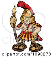 Clipart Spartan Boy Holding A Spear Royalty Free Vector Illustration