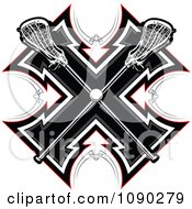 Clipart Lacrosse Sticks And Ball Over A Tribal Cross Royalty Free Vector Illustration by Chromaco