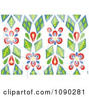 Clipart Seamless Green And Red Kaleidoscope Floral Pattern Royalty Free Vector Illustration by Cherie Reve