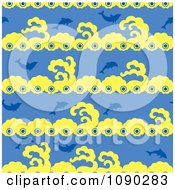 Clipart Seamless Blue And Yellow Dolphin Background Royalty Free Vector Illustration by Cherie Reve