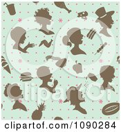 Seamless Retro Blue Brown And Pink People And Food Background