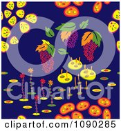 Clipart Seamless Colorful Fruit And Backyard Plant Background Royalty Free Vector Illustration by Cherie Reve