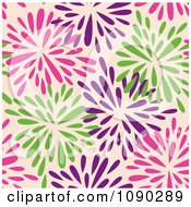 Clipart Seamless Pink Purple And Green Floral Burst Pattern Royalty Free Vector Illustration by Cherie Reve