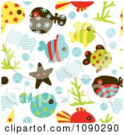 Clipart Seamless Sea Life Background Royalty Free Vector Illustration by Cherie Reve