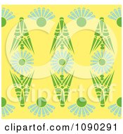 Clipart Seamless Yellow Green And Blue Kaleidoscope Floral Pattern Royalty Free Vector Illustration by Cherie Reve