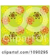 Clipart Seamless Green Yellow Brown And Orange Blossom Background Royalty Free Vector Illustration by Cherie Reve