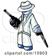 Blue Gangster Man Carrying Guns Clipart Illustration