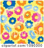 Clipart Seamless Orange Blue Yellow And Pink Gear Cog Background Royalty Free Vector Illustration