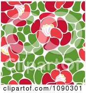 Clipart Seamless Green Leaf And Red Blossom Floral Pattern Royalty Free Vector Illustration by Cherie Reve