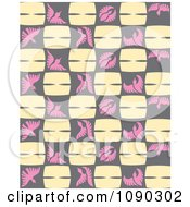 Clipart Seamless Pink Gray And Beige Flying Bird Background Royalty Free Vector Illustration