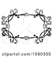 Clipart Black And White Ornate Floral Frame With Copyspace Royalty Free Vector Illustration