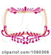 Clipart Pink And Orange Ornate Floral Frame With Copyspace Royalty Free Vector Illustration