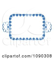Blue Ornate Floral Frame With Copyspace