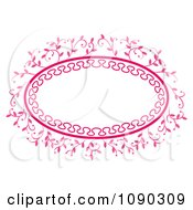 Clipart Pink Ornate Oval Floral Frame With Copyspace Royalty Free Vector Illustration