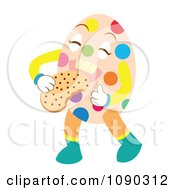 Clipart Easter Egg Eating A Cookie Royalty Free Vector Illustration by Cherie Reve