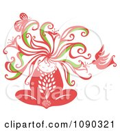 Clipart Woman Becoming One With Nature Including A Hummingbird And Butterfly Royalty Free Vector Illustration
