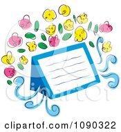 Clipart Blank Note With Pink And Yellow Flowers Royalty Free Vector Illustration