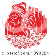 Clipart Red And White Tiger Papercut Royalty Free Vector Illustration