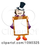 Clipart Magician Or News Man Holding A Blank Sign Royalty Free Vector Illustration